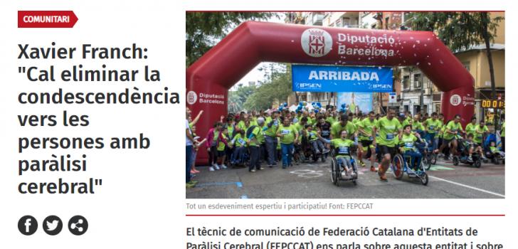 """Xarxanet entrevista la FEPCCAT per conèixer millor la federació i la cursa """"En marxa per la paràlisi cerebral"""""""
